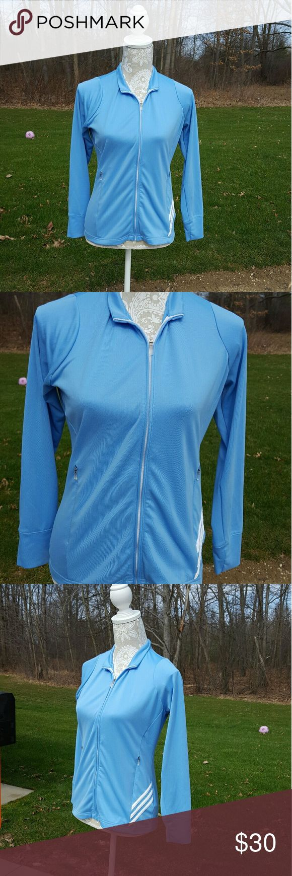 Adidas light blue and white zip up track jacket Worn once Size small Long sleeves Zip up Collared Zippered front pockets Climalite No Trades Adidas Jackets & Coats