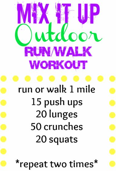 Just found this blog she tells ya of different workouts, this one is a Outdoor Running or Walking Workout-Take your workout outside and mix things up with this quick outdoor workout!