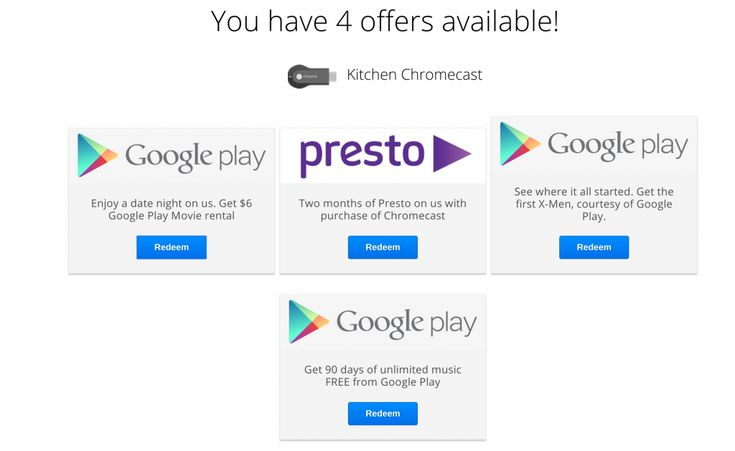 Google offering $6 of Google Play credit with the purchase of a Chromecast.  If you've purchased a Chromecast in Australia recently, it's time to check your offers again, with Google again offering $6 of Google Play credit. [READ MORE HERE]