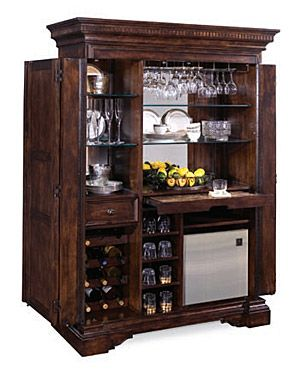 Awesome Bar Armoire with Refrigerator