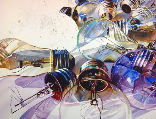 Watercolor artist Carrie Waller demonstrates her watercolor tutorial for still life painting—intensifying colors and re-creating objects as abstract forms.