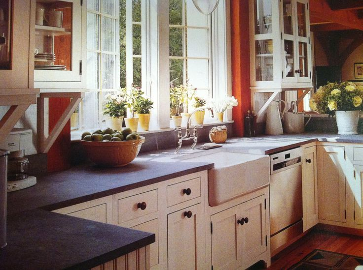 Soapstone Countertop, Farmhouse Sink, White Shaker Counters
