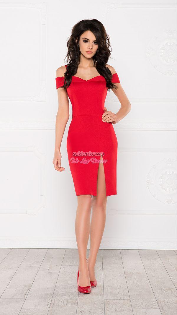 Sukienkowo Com Melody Olowkowa Sukienka Z Rozcieciem Na Kolanie Czerwona Jersey Dress Dresses Bodycon Dress