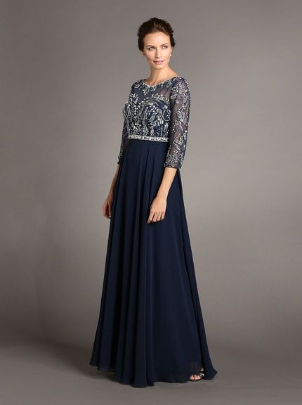 Terani Couture Womens Lace Top Gown with Beading Detail
