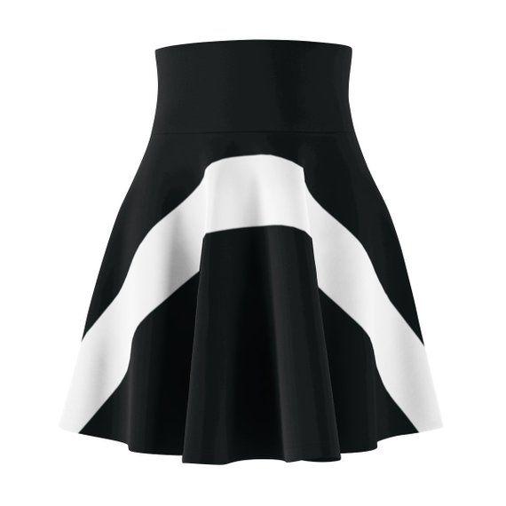 Black And White Women's Skater Skirt