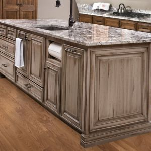 Custom Island Custom Cabinetry Gray Grey Distressed