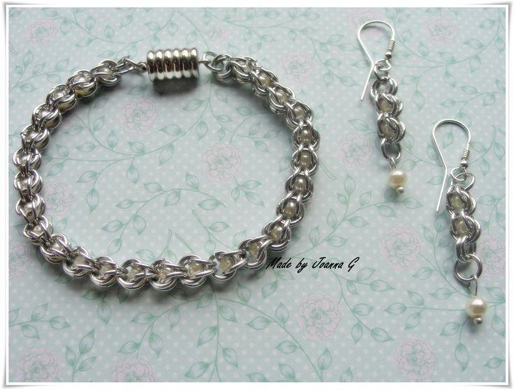 Komplet biżuterii chainmaille wykonany z Bright Aluminium