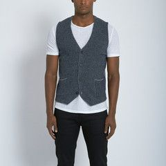 Nahariya Houndstooth Sweater Vest in Blue