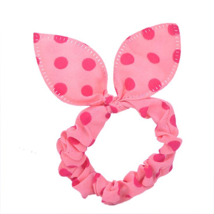 Polka-Dots-Hair-Band-Rabbit-Ear-Headband-Polkadot-Elastic-Ponytail-Holder-Tie