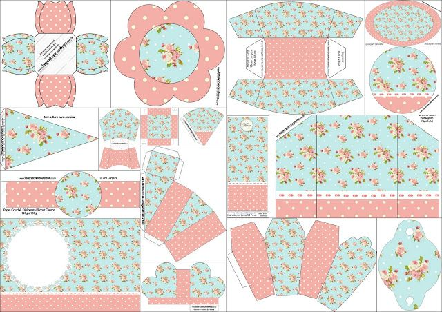 Free Printable Quinceanera Party Kit with Shabby Chic Design in Pink and Light Blue.