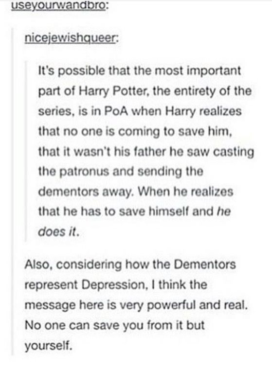 A point re Harry Potter, and depression.