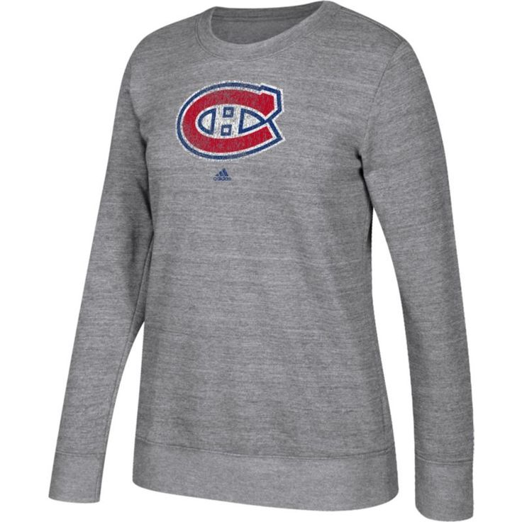 adidas Women's Montreal Canadiens Distressed Logo Heather Grey Sweatshirt, Size: Medium, Team
