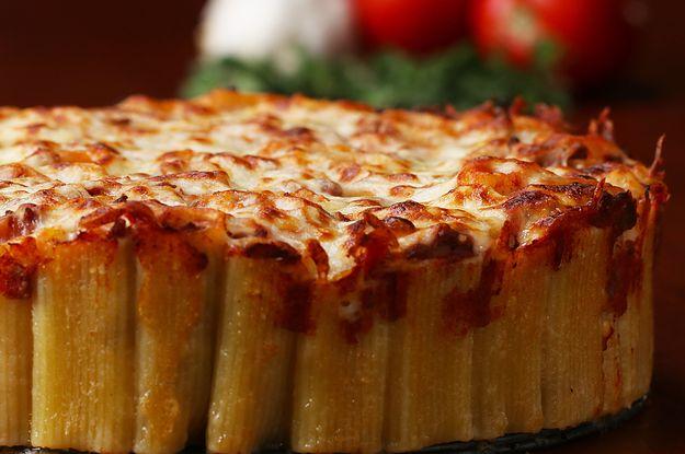 Kick your spaghetti dinner up a notch.  Cheesy rigatoni pie