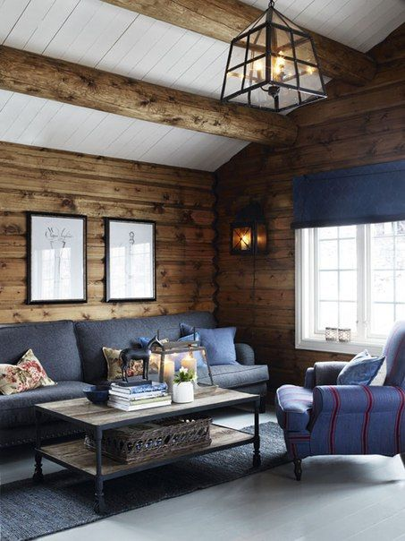 Log walls with white ceiling