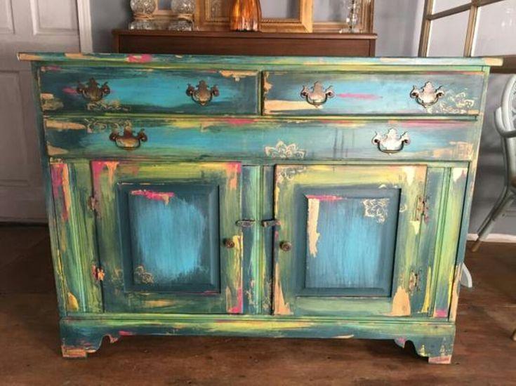 Bohemian Style Cabinet Refurbished