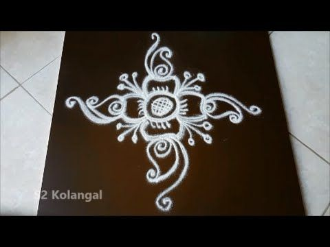Simple flower kolam / apartment kolam with 4 dots for beginners