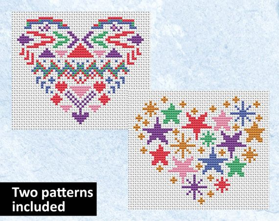 ***Two different patterns are included in this listing***  Cross stitch patterns of two hearts. One is inspired by Aztec patterns, and the other is filled with stars. These are smaller patterns which would look good as large cross stitch cards or as small framed pictures.  Aztec Heart details: • Stitch count: 53 wide x 45 high • Approximate size on 14 count aida: 3.8in wide x 3.2in high (9.6cm wide x 8.2cm high) • 5 colours, DMC numbers given (6 colours for both hearts) • Uses full cross…