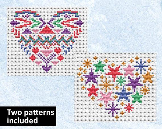 Heart cross stitch patterns, counted cross stitch card motifs, geometric, stars, fantasy, love, wedding, anniversary, quick simple xstitch