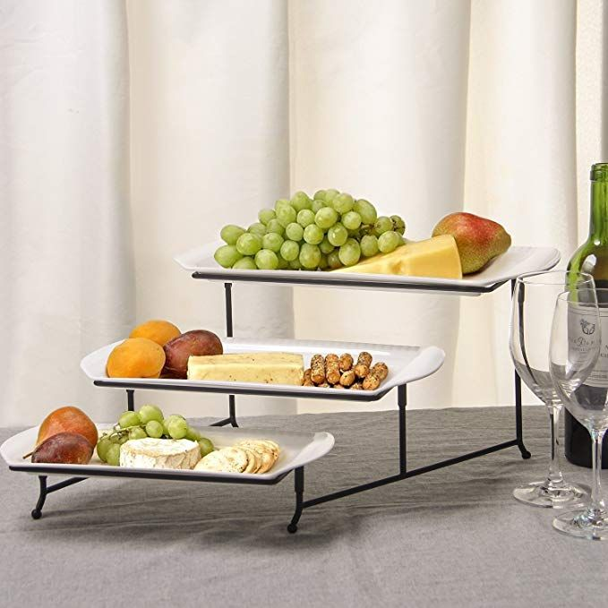 Amazon Com Lifver 15 Inch Porcelain Embossed Rectangular Platter Serving Plates With 3 Tier Metal D Rectangular Platter Buffet Plate Serving Plates