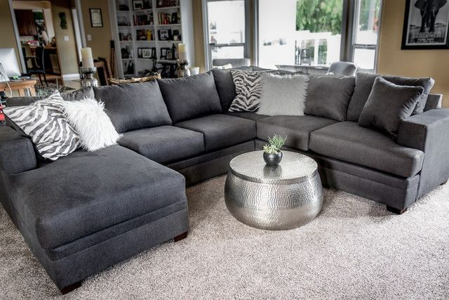 Wondrous Kerri Charcoal 2 Piece Sectional With Left Arm Facing Chaise Ibusinesslaw Wood Chair Design Ideas Ibusinesslaworg