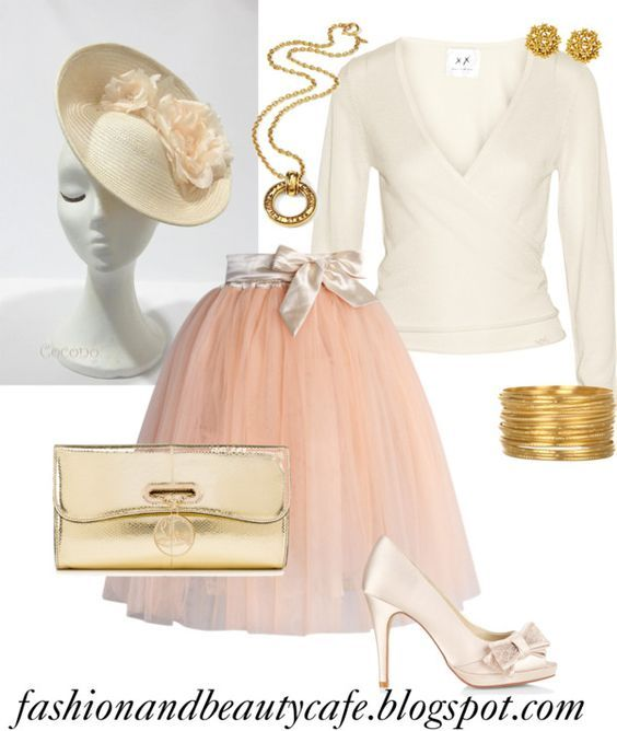 Fashion and Beauty Cafe: peach with ivory and gold tea party or brunch outfit.  adult tutu skirt and derby hat.