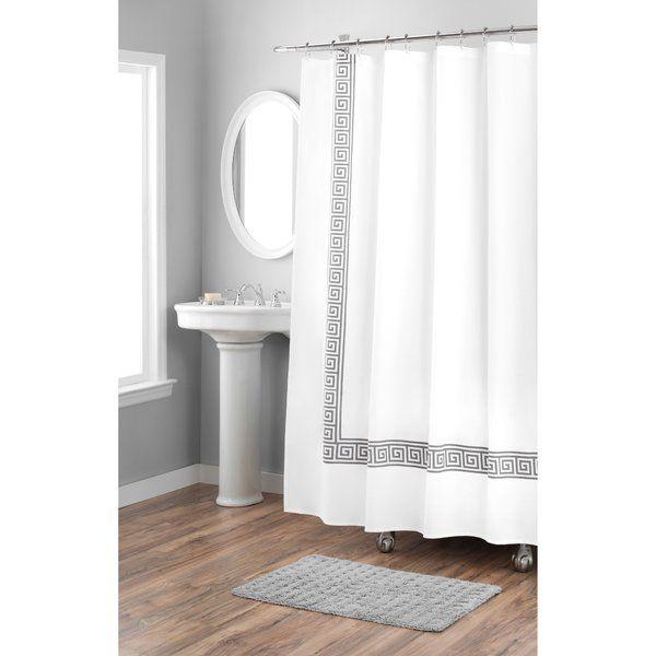 Greek Key Cotton Single Shower Curtain Cotton Shower Curtain