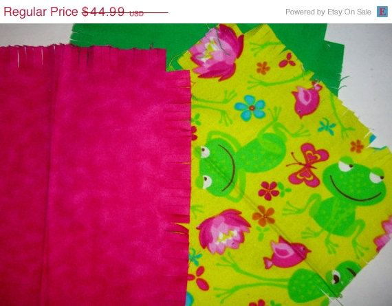 "Baby Flannel rag quilt kit funny frog kids nursery fringed die cut fabric squares and batting  ready to sew 39""x39"" quilting #baby, #ragquilt, #quiltkit, #frog, #froggies, #diecut, #fringed, #quiltsquares, #batting, #etsy, #store - pinned by pin4etsy.com"