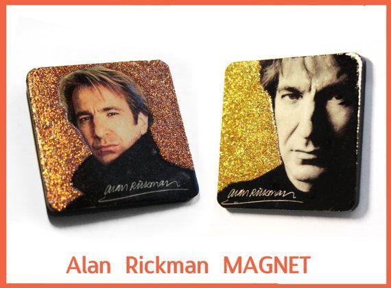 Alan Rickman gift. Handmade fridge magnet, decorated with glitter. Fanart Harry Potter, Severus Snape, Snape Always. Movie actor gift.