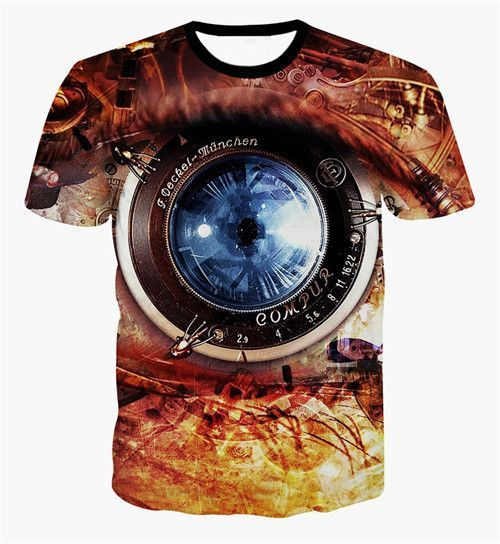 FaPlus Men's Fashion Eye Lens Print T-Shirts There is Asian Size, About 2  Size Smaller Than US/UK/EU Size. Please Refer to Detail Size Below the  Product ...