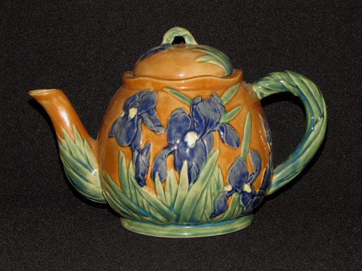Henriksen Imports Majolica Tea Pot Irises Ceramic