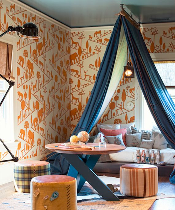 Fabulous vintage orange 1970's wallpaper accented by charcoal painted ceiling. Denim panels can be stretched across the room creating a fort. It even has a cool hanging light. San Francisco Decorator Showcase 2014: Boy's Bedroom Regan Baker Design.
