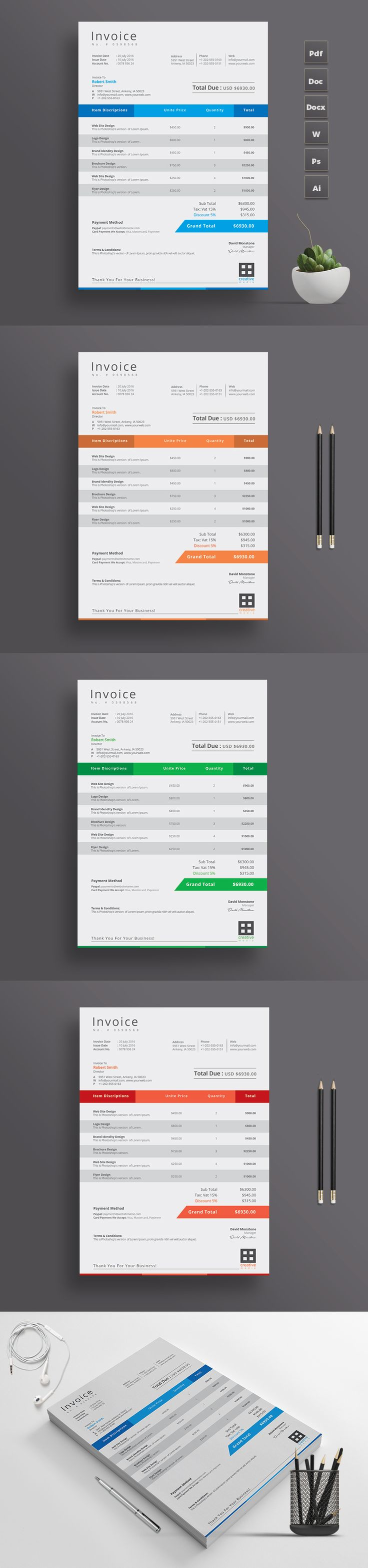 Simple Invoice Design Template with Microsoft Excel Version | A4 Paper Size | Print Ready | Microsoft Word Version Available too | Just download and Print | Color Options Available