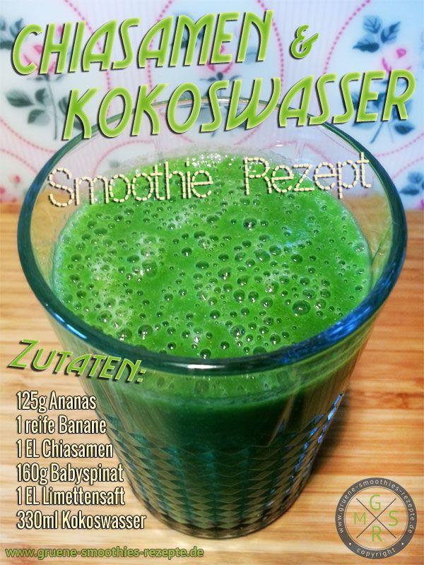 Grüner Smoothie mit Spinat, Chiasamen, Kokoswasser, Ananas, Banane und Limettensaft