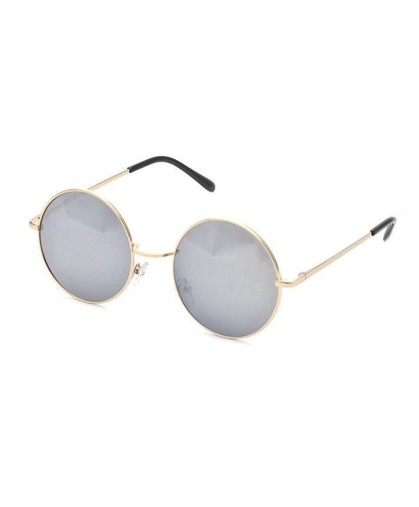 6ed38786d3 Classic Round Circle Mirrored Lens Thin Frame John Lennon Sunglasses ...