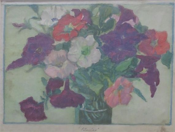 Petunias by Margaret Jordan Patterson,  Dimensions 7 1/4 x 10 1/4 in Medium Woodblock print Realized Price 1,500 USD*  -63% Estimate 3,000 - 5,000 USD Condition: Very good condition, some soiling Lot number 62 BAKKER AUCTIONS OCT. 29, 2016 View lot at invaluable.com