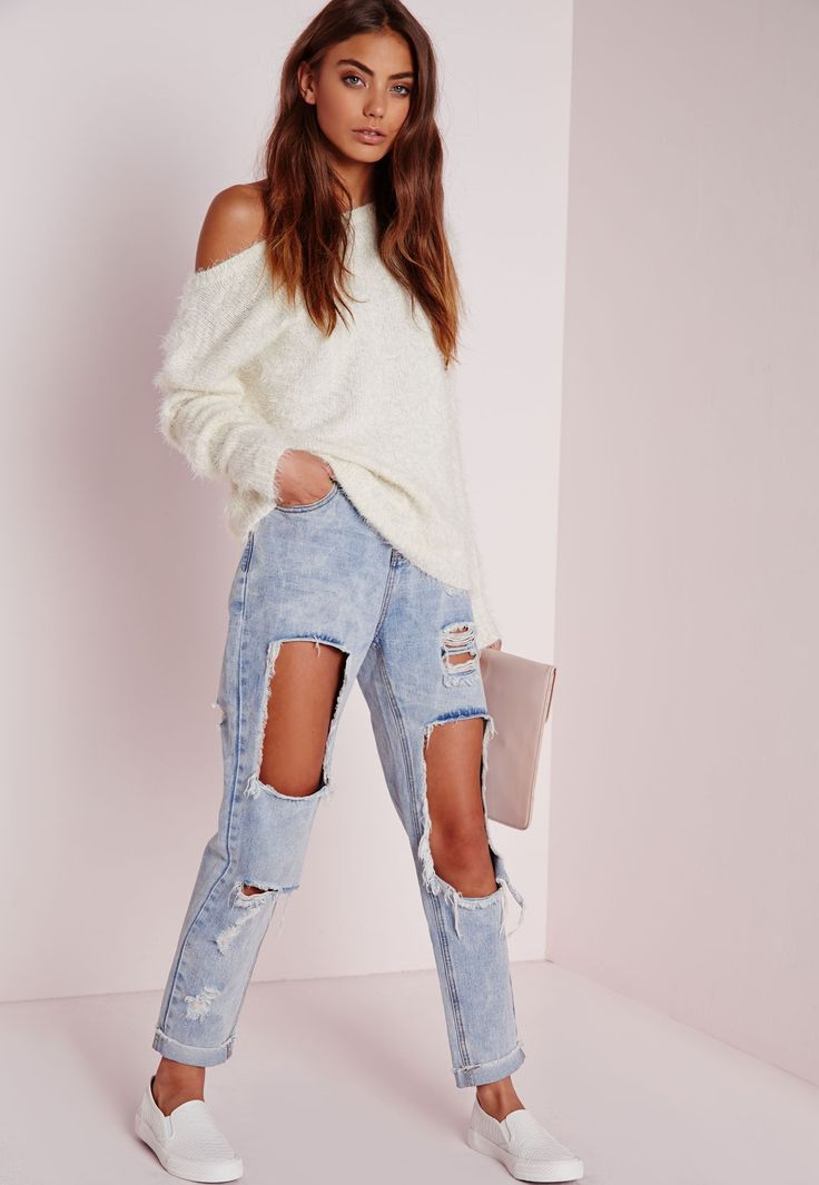 Missguided - Off Shoulder Fluffy Sweater Cream