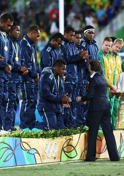 #RIO2016 Princess Anne Princess Royal presents the Fiji team with their gold medals during the medal ceremony for the Men's Rugby Sevens on Day 6 of the Rio...