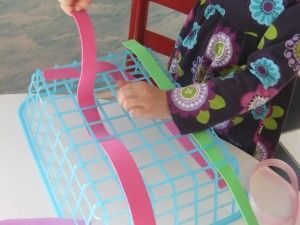 Weaving with plastic containers from the Dollar Store and foam strips