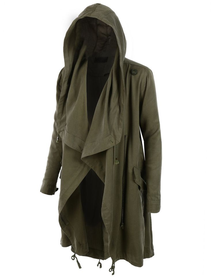LE3NO Womens Lightweight Oversized Waterfall Military Parka Jacket with Hoodie