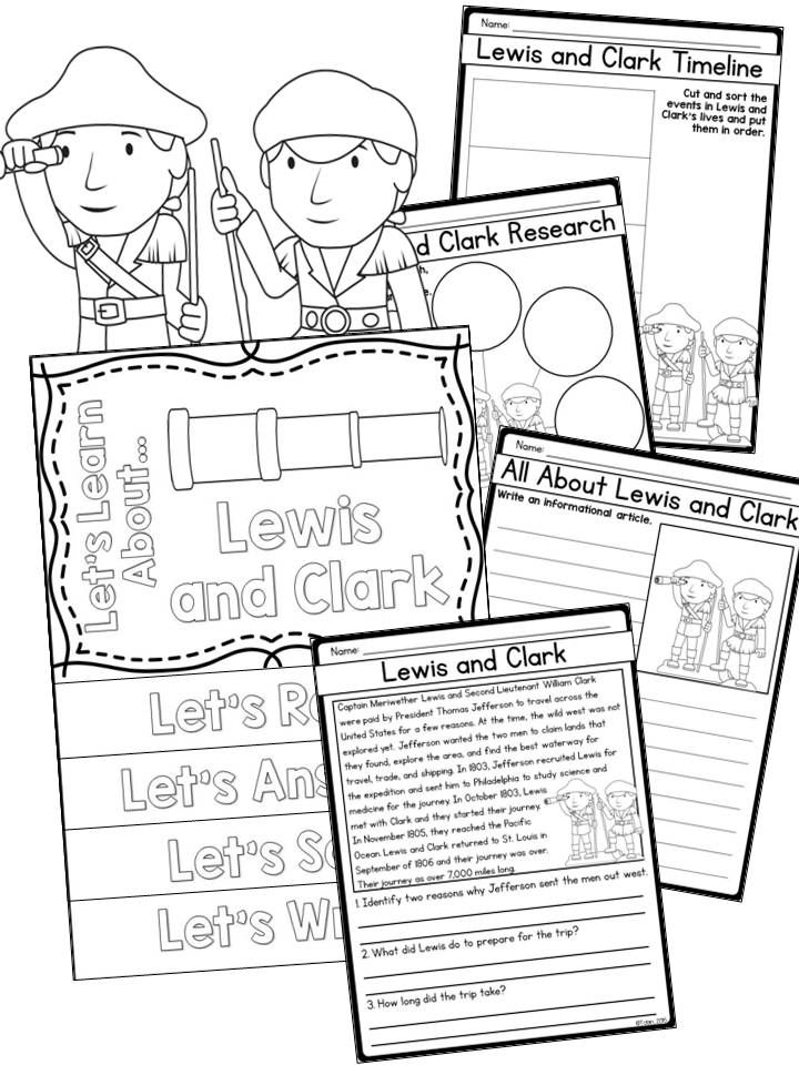 Lewis and Clark biography set- reading passages, writing and research, timeline, comprehension activities, and a flip book craft