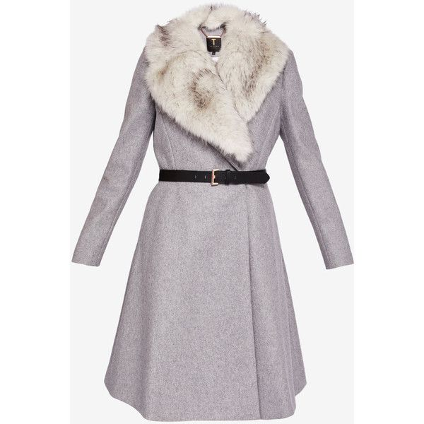 Ted Baker Faux fur skirted coat ($595) ❤ liked on Polyvore featuring outerwear, coats, faux fur coat, fake fur coats, ted baker, imitation fur coats and waist belts