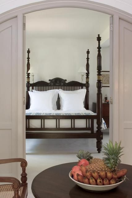 Get cosy in a four poster bed at the Amangalla, Sri Lanka. An unforgettably classic colonial hotel that offers guests every contemporary luxury such as spacious bedrooms, modern bathrooms, a beautiful swimming pool and The Baths - a stunning spa complete with luxury ayurveda centre and marble-walled candlelit hydrotherapy room - without detracting from the ambience of its magnificent past. From every window of Amangalla can be seen a majestic view of the historic fort.