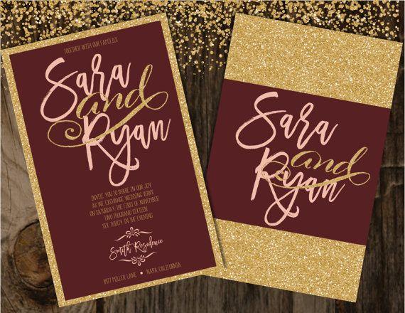 Burgundy And Gold Wedding Invitations: Blush And Burgundy Wedding Invitation, Blush And Gold