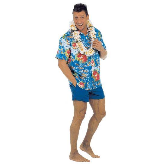 Blauwe Hawaii blouse. Blauwe Hawaii blouse voor heren met gekleurde bloemen. Materiaal: polyester. De maat is one size ongeveer maat M/L. Carnavalskleding 2015 #carnaval