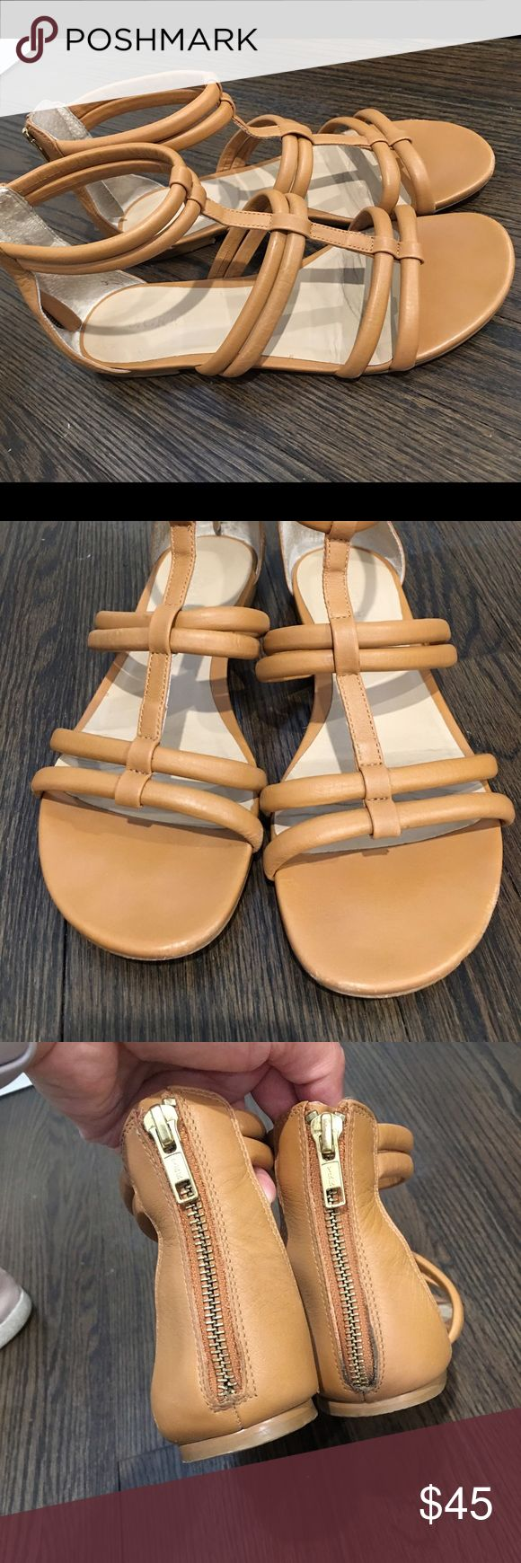 Preowned J. Crew Camel Zip Up Sandals 8 These are Preowned but still have plenty of life left.  This style sold out quickly and are no longer available.  Perfect for summer!  Size 8. J. Crew Shoes Sandals