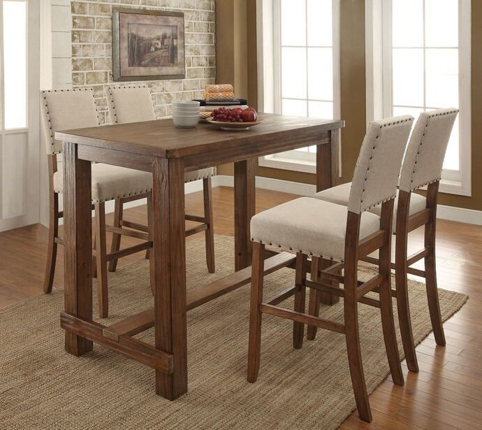 5 Pc Sania Collection Contemporary Style Natural Tone Finish Wood Bar Height  Dining Table Set With Padded Chairs. Set Includes Table And 4 Chairs With  ...
