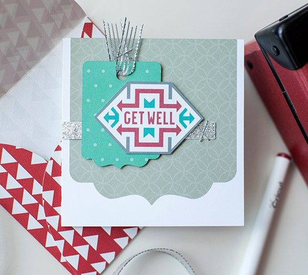 """Aztec Get Well Card - Tribal Print, DIY homemade card made with Cricut Explore  No one likes to feel under the weather and this colorful card will be sure to brighten a friend's day! Maybe take them a card and some chicken soup?  This project makes one 4 ¼"""" square card with coordinating envelope. Images are from the Cricut® Southwest, Cricut® Bits & Pieces, Cricut® Card Set with Box, and Cricut® Creative Cards digital cartridges.  ❤ Shanon"""