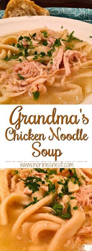 Chicken Noodle Soup like Grandma made...rich flavorful broth, tender chicken, and thick hearty noodles.