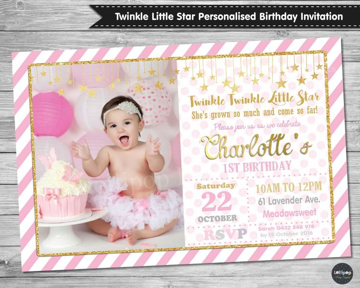 57 best girls birthday party ideas images on pinterest birthday twinkle little star 1st first birthday invitation invite card pink gold party stopboris Image collections