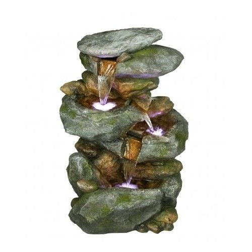 Rock Waterfall Fountain With LED Lights -NEW #Alpine